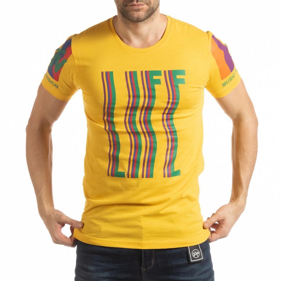 Ανδρική κίτρινη κοντομάνικη μπλούζα MTV Life tsf190219-36