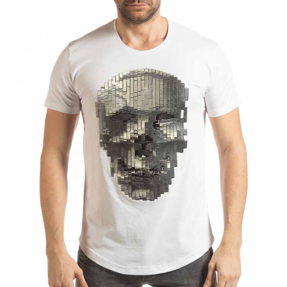 Ανδρική λευκή κοντομάνικη μπλούζα με νεκροκεφαλή tsf190219-23