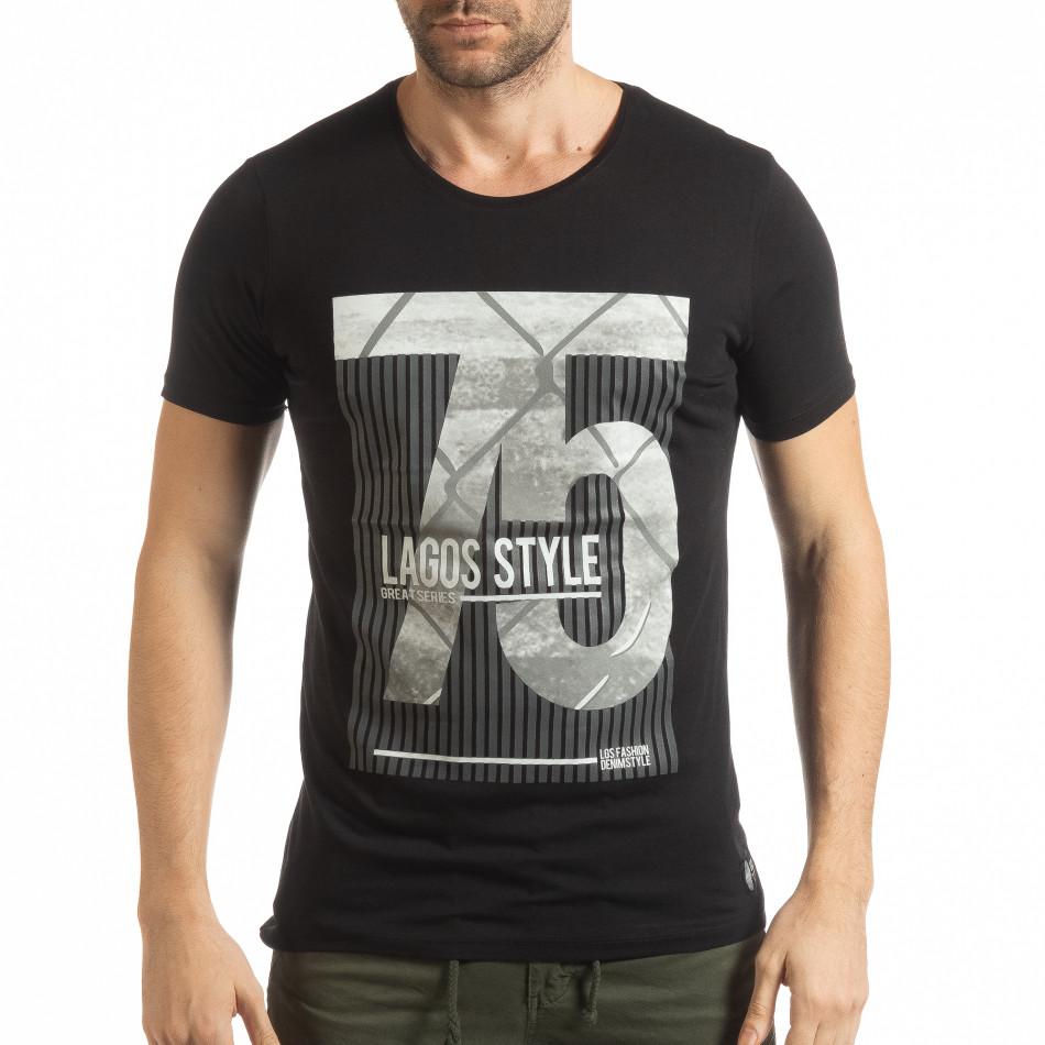 Ανδρική μαύρη κοντομάνικη μπλούζα με πριντ Lagos Style  tsf190219-54