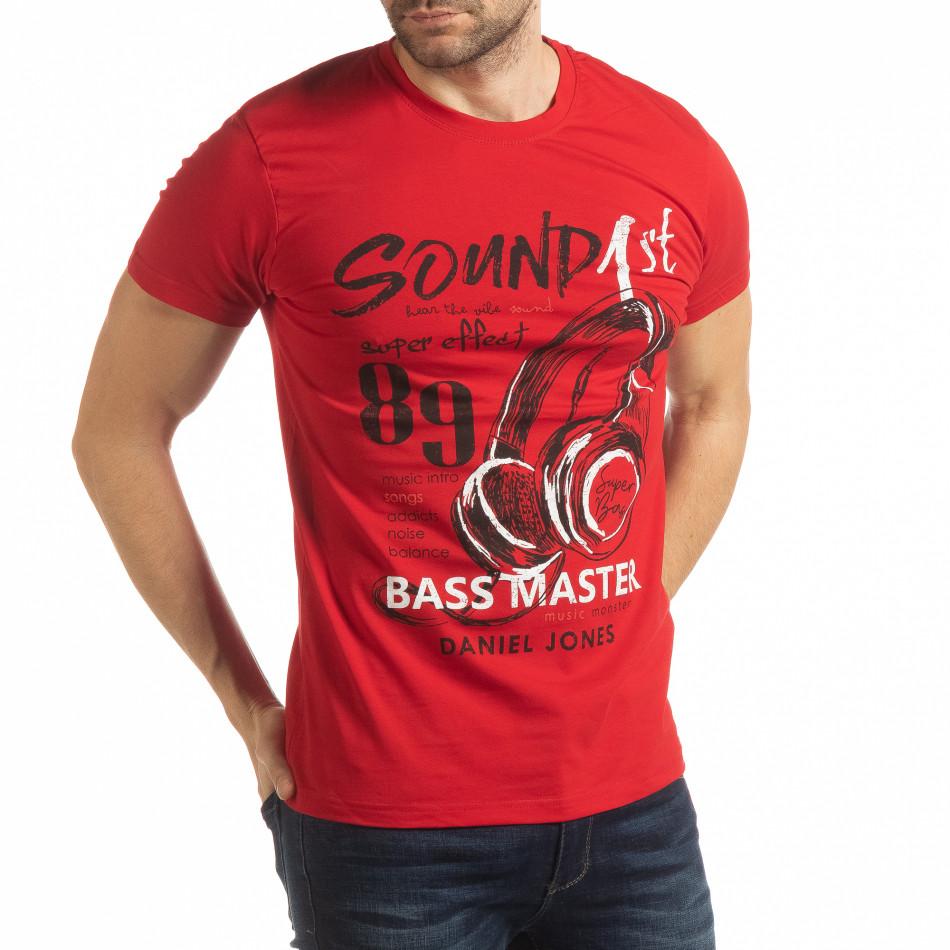 Ανδρική κόκκινη κοντομάνικη μπλούζα Sound tsf190219-67
