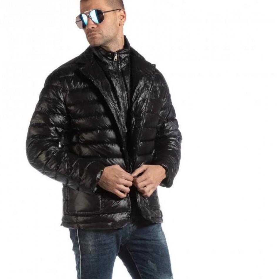 Ανδρικό μαύρο χειμωνιάτικο μπουφάν τύπου μπλέιζερ it261018-130