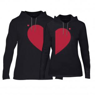 Φούτερ για ζευγάρια Half Heart μαύρο
