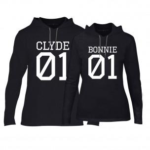 Φούτερ για ζευγάρια Bonnie 01 & Clyde 01 μαύρο