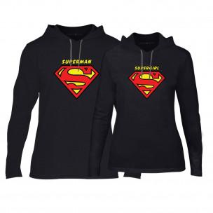 Φούτερ για ζευγάρια Superman & Supergirl μαύρο