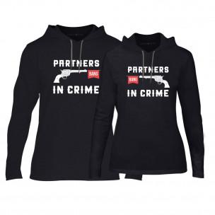 Φούτερ για ζευγάρια Partners in Crime μαύρο