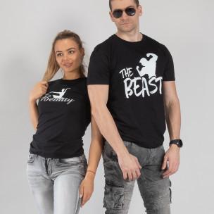 Μπλουζες για ζευγάρια Beauty & Beast μαύρο