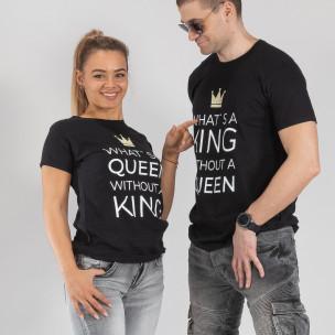 Μπλουζες για ζευγάρια What Is King μαύρο