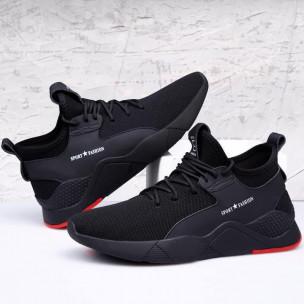 Ανδρικά μαύρα sneakers με κόκκινη λεπτομέρεια  2