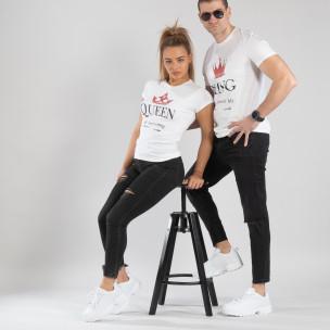 Μπλουζες για ζευγάρια King Queen λευκό