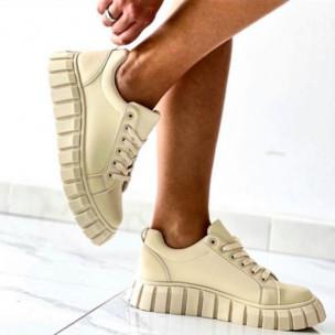 Γυναικεία sneakers δίσολα μονόχρωμα σε μπεζ Fashion&Bella 2