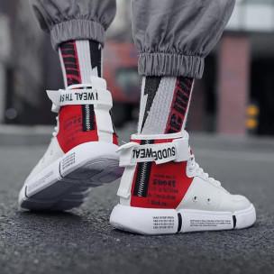 Ανδρικά λευκά ψηλά sneakers με αξεσουάρ 2