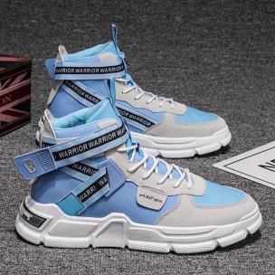 Ανδρικά γαλάζια ψηλά sneakers Chunky  2