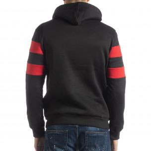 Ανδρικό φούτερ σε μαύρο και κόκκινο με επένδυση 2