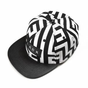 Ασπρόμαυρο καπέλο με επιγραφή Black