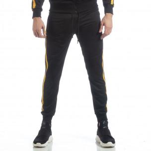 Ανδρική μαύρη φόρμα Biker με κίτρινη ρίγα  2
