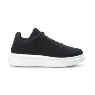 Ανδρικά μαύρα υφασμάτινα sneakers με χοντρή σόλα