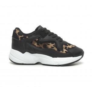 Γυναικεία μαύρα αθλητικά παπούτσια με λεοπάρ λεπτομέρειες FM