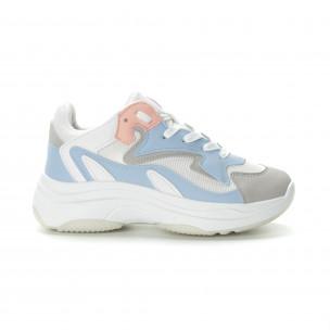 Γυναικεία λευκά αθλητικά παπούτσια με παστέλ λεπτομέρειες