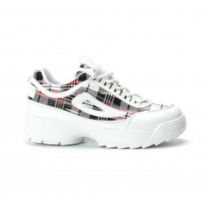 Γυναικεία λευκά καρέ sneakers με Chunky πλατφόρμα