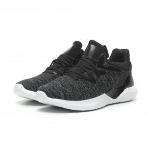 Ανδρικά μαύρα μελάνζ αθλητικά παπούτσια πλεκτό μοντέλο  2
