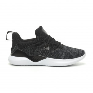 Ανδρικά μαύρα μελάνζ αθλητικά παπούτσια πλεκτό μοντέλο