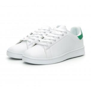 Γυναικεία Basic λευκά αθλητικά παπούτσια με πράσινη λεπτομέρειεα 2
