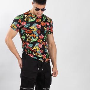 Ανδρική πολύχρωμη φλοράλ κοντομάνικη μπλούζα