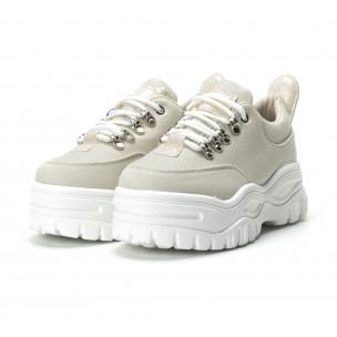 Γυναικεία μπεζ sneakers με πλατφοόρμα   2