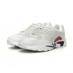 Ανδρικά ελαφριά αθλητικά παπούτσια με χοντρή σόλα σε άσπρο  2
