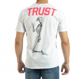 Ανδρική λευκή κοντομάνικη μπλούζα Pray Trust  2