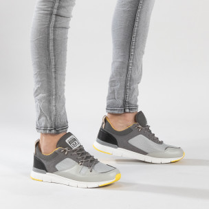 Ανδρικά γκρι αθλητικά παπούτσια με κίτρινες λεπτομέρειες