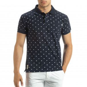 Ανδρική μπλέ polo shirt με Clover μοτίβο