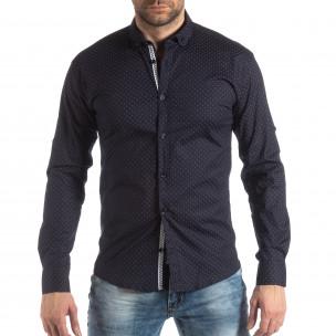 Ανδρικό Slim fit σκούρο μπλε πουκάμισο με σταυροτό μοτίβο  2