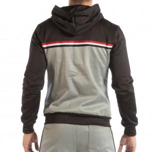 Ανδρικό γκρι φούτερ 3 striped με μαύρη κουκούλα  2