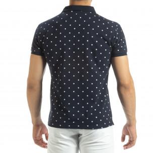Ανδρική μπλέ polo shirt με Clover μοτίβο  2