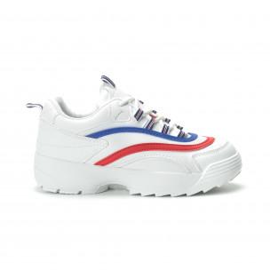 Γυναικεία λευκά sneakers με χρωματιστές λωρίδες  2
