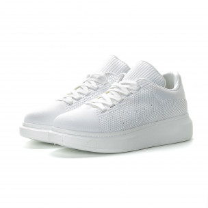 Ανδρικά λευκά υφασμάτινα sneakers με χοντρή σόλα 2