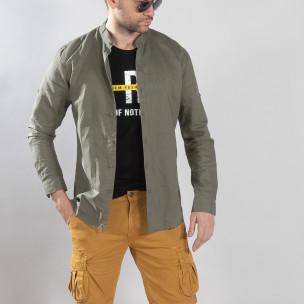 Ανδρικό πράσινο πουκάμισο από λινό και βαμβάκι Leeyo
