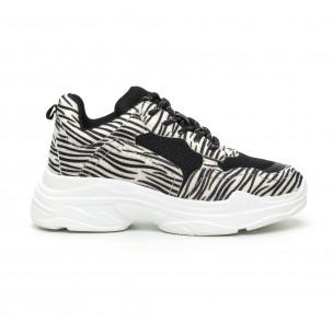 Chunky γυναικεία αθλητικά παπούτσια με μοτίβο ζέβρα 2