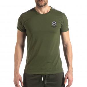 Ανδρική πράσινη κοντομάνικη μπλούζα με λογότυπο