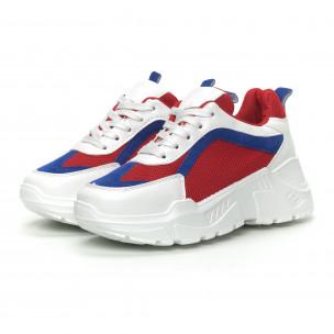 Γυναικεία αθλητικά παπούτσια σε συνδυασμό κόκκινου, λευκού και μπλε 2