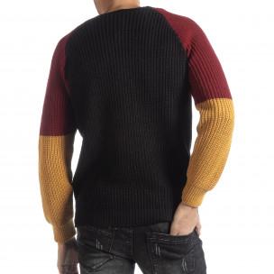 Ανδρικό πουλόβερ σε μαύρο, μουσταρδί και μπορντό  2