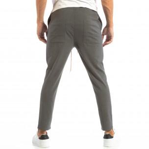 Ανδρικό σκούρο γκρι παντελόνι τύπου Jogger  2