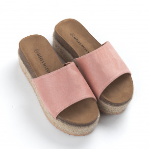 Γυναικείες ροζ ανατομικές παντόφλες και πλατφόρμα  2