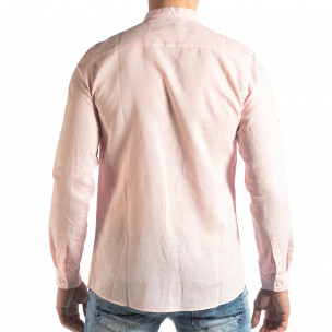 Ανδρικό ροζ πουκάμισο από λινό και βαμβάκι Leeyo 2