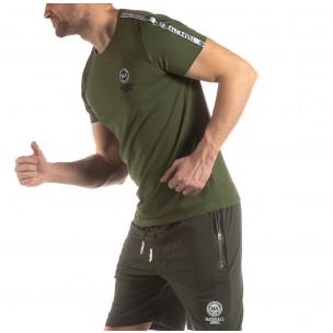 Ανδρική πράσινη κοντομάνικη μπλούζα με λογότυπο  2