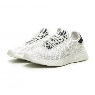 Ανδρικά λευκά αθλητικά παπούτσια Mesh με μαύρες λεπτομέρεις 2