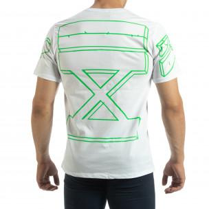 Ανδρική λευκή κοντομάνικη μπλούζα Uniplay  2
