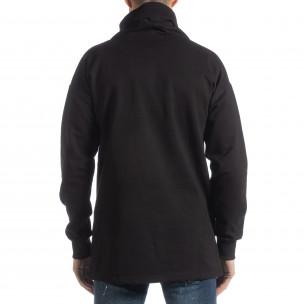 Ανδρική μαύρη μπλούζα με γιακά Oversized  2