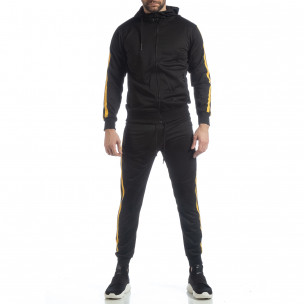 Ανδρικό μαύρο αθλητικό σετ με κίτρινες ρίγες Biker στυλ 2